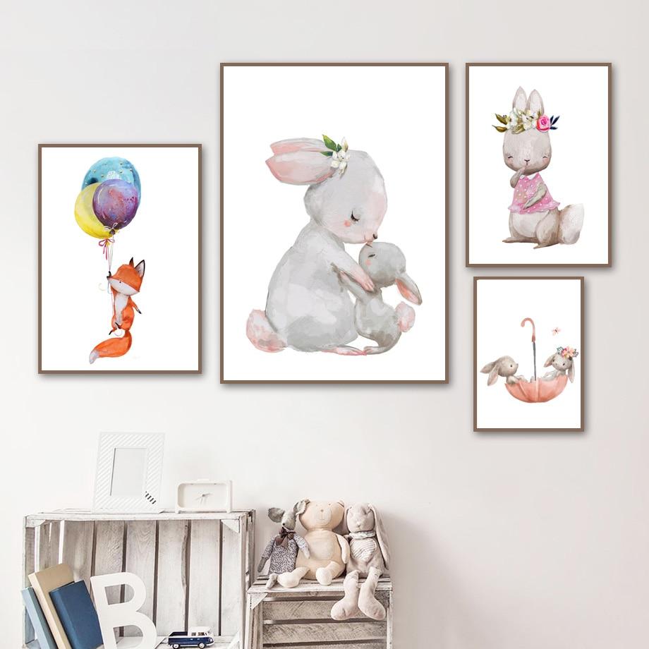 Bebek Tavşan Tilki Balon Duvar Sanat Tuval Boyama Nordic Posterler