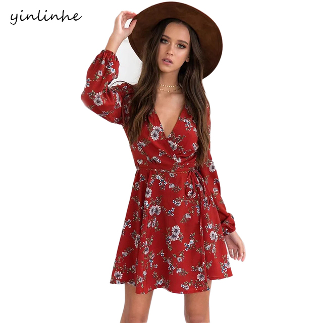 yinlinhe Cross V-neck Beach Dresses Summer Red Floral Wrap Dress Women Long  Sleeve sash sexy Mini Elegant Boho Style 067