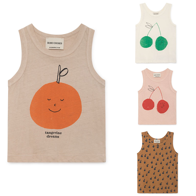 Fashion Bobo Choses 2019 Summer Kids Vest T-shirt for Boys and Girls Kids Bobo Chose Cherry Apple Print Tops Tank(China)