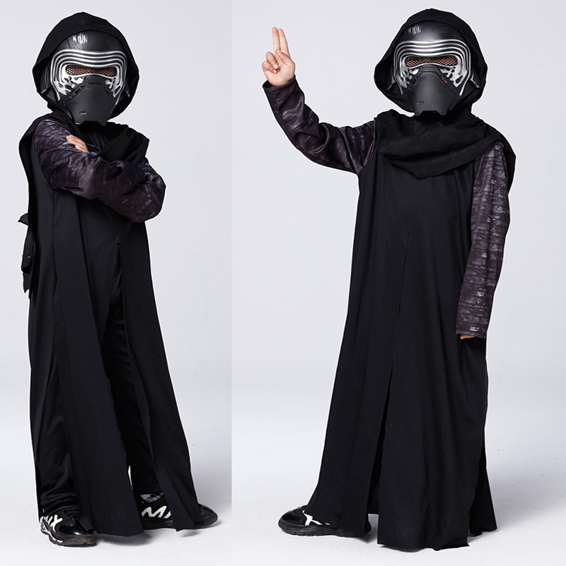 2018 New Arrival Boys Deluxe Star Wars The Force Awakens Kylo Ren Classic Cosplay Clothing Children Kids Halloween Movie Costume