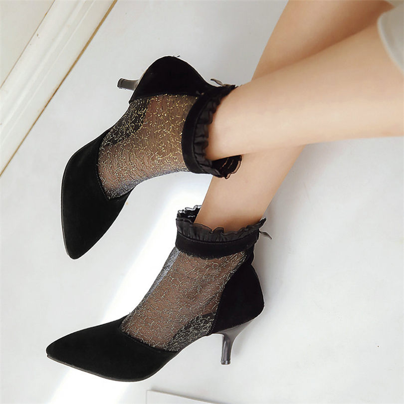 NAYIDUYUN Women Black Faux Suede Party Ankle Boots Breathable Mesh High Heel Pumps Casual Shoes Wedding Roman Ruffles Sandals