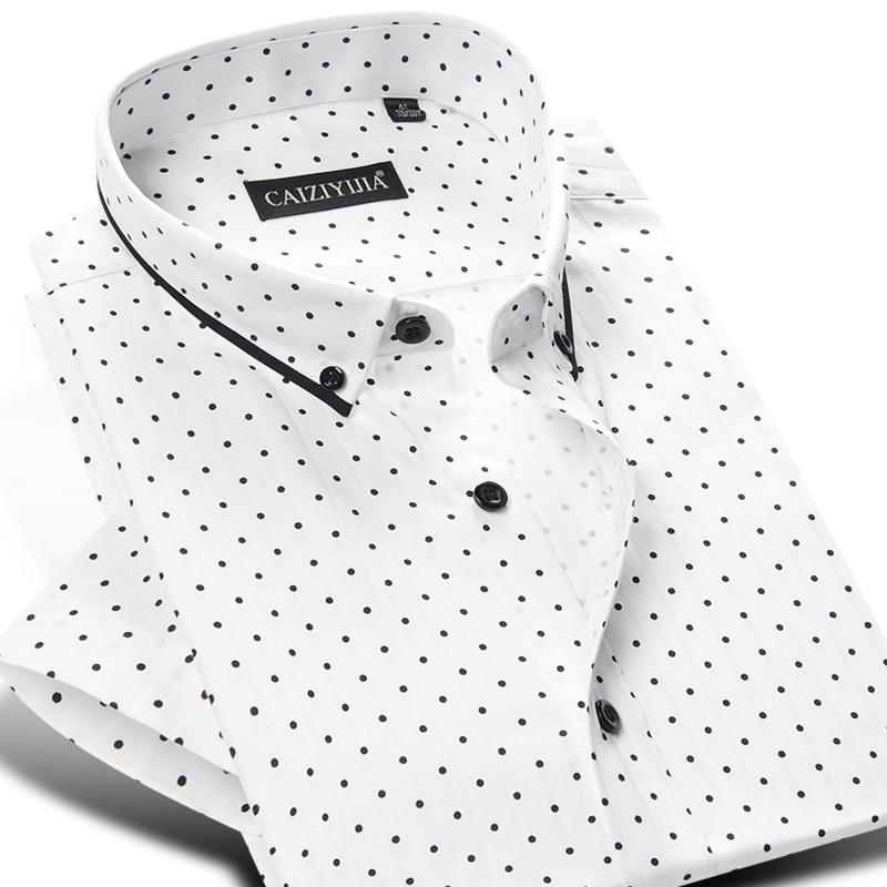 2017 Summer Men's 100% Cotton Mini polka Dot Pattern Dress Shirt Short Sleeve Soft Button down Casual Slim fit Shirts