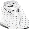 2017 Summer Men's 100% Cotton Mini polka Dot Pattern Dress Shirt Short Sleeve Soft Button down Casual Slim fit Shirts