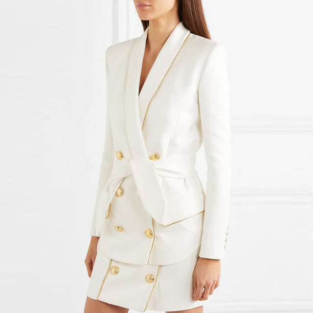 High Quality Fashion New Strip Belt Coat Women