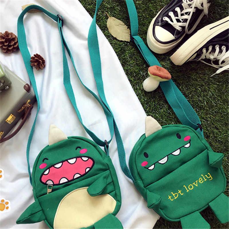 Kinderen Fun Monster Canvas Groene Kleine Satchel Japanse Zachte Zus Student Harajuku Enkele Schouder Tas Vrouwelijke