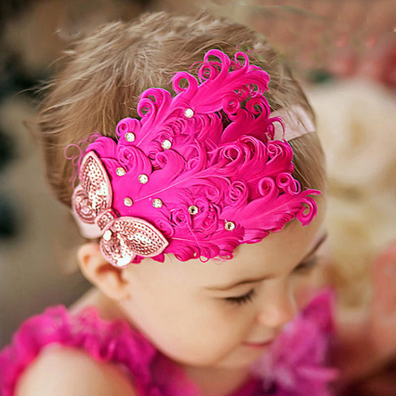 Elastic Hair Band Headbands With Feather Flower Girl Gum For Hair Accessories Flower Girls Hairbands Headwear Gomas Para El Pelo mism girl french hair bun maker multifunctional hair accessories for women fine roller curls styling holder curlers headbands