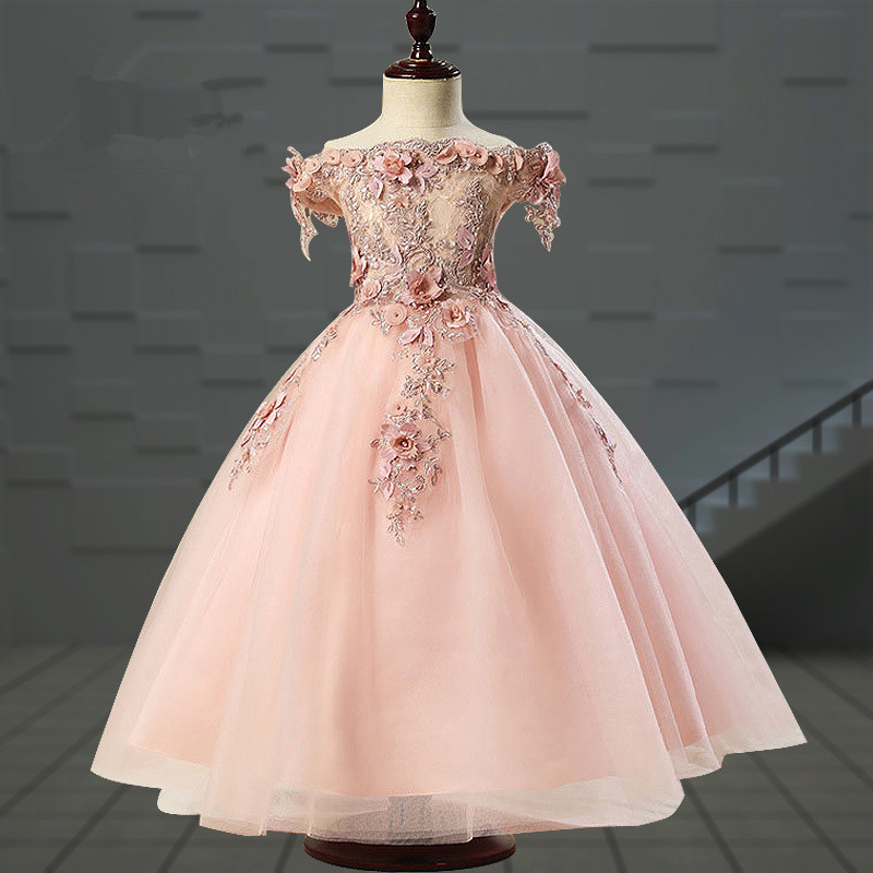 High Quality Pink Tulle Flower Girl Party Pageant Princess Dress For Little Girls Glitz Long First