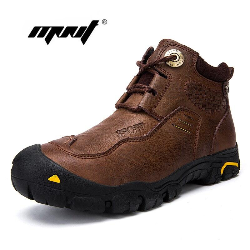 Naturel Neather Hommes Chaussures D'hiver Chaud De Fourrure et En Peluche Dentelle Up Véritable En Cuir Cheville Hommes Bottes À La Main Hommes Neige Bottes