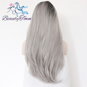 Image 3 - BeautyTown L Lace Part Handmade Black Ombre Grey Heat Resistant Hair Salon Party Women Daily Makeup Synthetic Lace Front Wigs