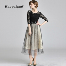 2018 Autumn Winter Black Lace Dress Women O-neck Half Sleeve Elegant Party Big Swing Vintage Plus Size