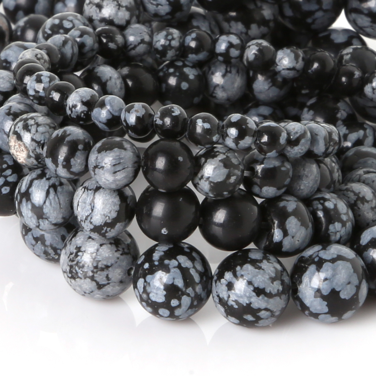 Natural Stone Beads : Snowflake obsidian beads round selectable size mm