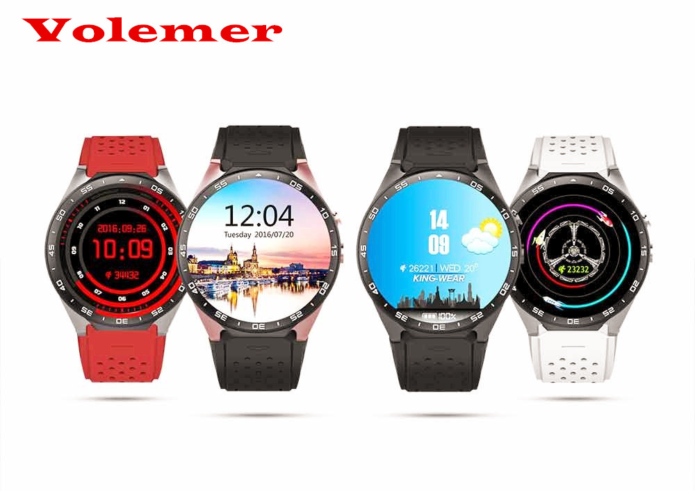 Volemer KW88 Bluetooth 4.0 WIFI Smart Watch Phone Android 5.1 Resolution 400*400 pixel Support Google Voice GPS Map 696 bluetooth android smart watch gt08 plus support camera nano 3g sim card wifi gps google map google play store wristwatch