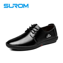 SUROM Fashion Leather Casual Shoes Men's Flats Lace Up Litchi grain male footwear leather shoes men 2017 brand spring new shoe
