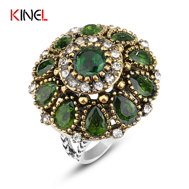KineL Brand Crystal Wedding Rings For Women Vintage Plating Gold Mosaic Resin Tu