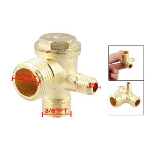 """Купить с кэшбэком 2/5"""" 3/8""""PT 1/2""""PT Male Thread 3 Way Metal Air Compressor Check Valve Gold Tone"""