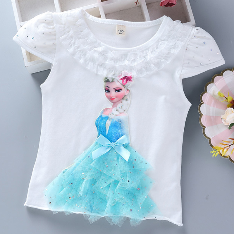 Girls New Summer Princess T-Shirt Elsa Childen Cotton Tees Lace T Shirt 3D Diamond Appliques Kids Birthday Party Top Clothing