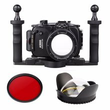 40m Waterproof Underwater Diving Camera Case For Sony A5000 16-50mm + Two Hands Aluminium Tray + 67mm Fisheye Lens + Red Filter