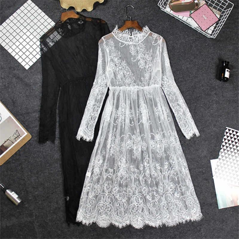 White Summer Dress Women Long Sleeve Perspective Lace Dress Robe Femme  Bottom Maxi Sexy Dress Vestidos ed3ae2c447ee