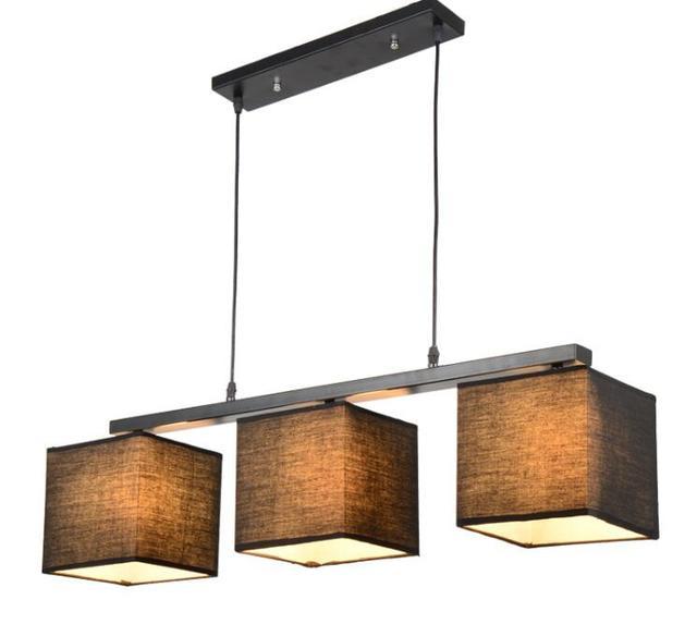 American Country Style Rectangular Dining Light Lampadario Modern Fabric  Lamp Nordic White Black Linen Pendant Lighting
