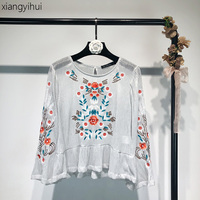 Retro Vintage Bright Silk Embroidery Floral Print Flare Sleeve T Shirt Female Women S Spring Summer