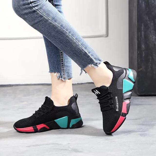 307e86a9fbb6b Dumoo marca Zapatillas Mujer negro otoño invierno Mujer Casual zapatos  Mujer colores zapatos talón 5