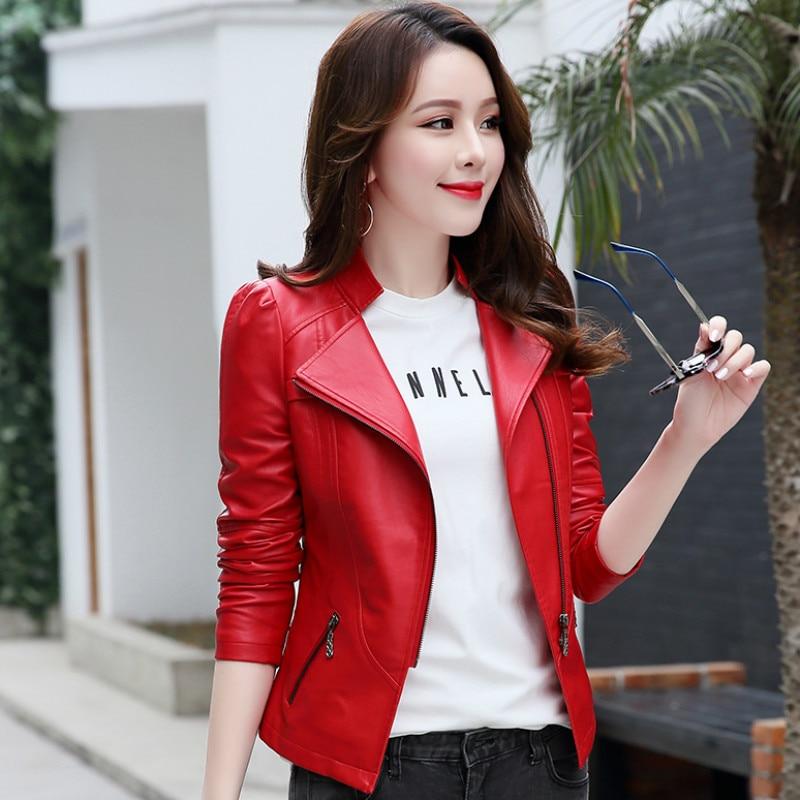 Autumn Winter   Leather   Women Coat Short Slim   Leather   Jacket Women Plus Size 5XL 6XL Fashion PU Motorcycle Biker Jacket RE2497