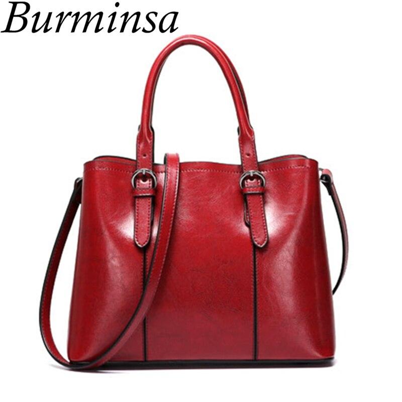 Burminsa Korean Style Women Genuine Leather Handbags High Quality Cowhide Tote Bags Ladies Medium Shoulder Messenger