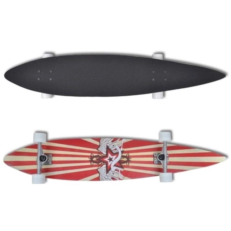 Longboard Planche À Roulettes Étoiles 117 cm 9 strati en acero 22,5 cm camion rosso