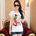Summer Women O Neck Slim Short Sleeve T Shirts Lady Comfortable Cotton White Tops Tees With Pattern Female Basic T-Shirt
