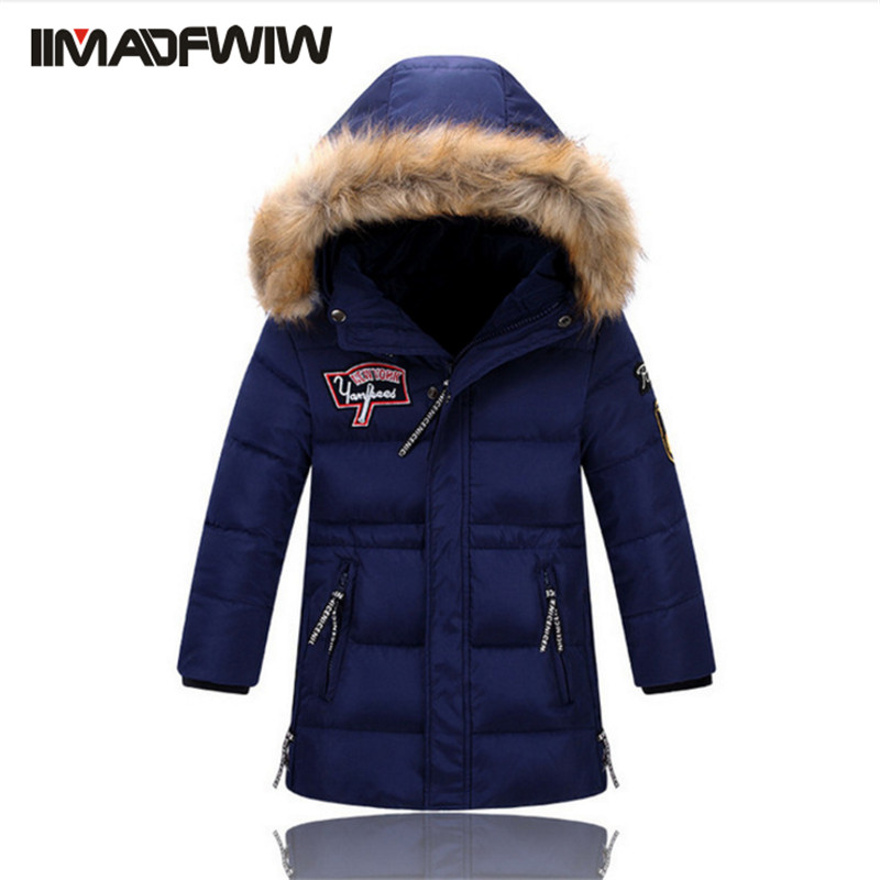 2017 New Boys Winter Long Down Jackets Outerwear Coats Fashion Big Fur Collar Thick Warm White Duck Down For 4-11T Children 100% white duck down women coat fashion solid hooded fox fur detachable collar winter coats elegant long down coats