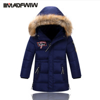 2017 New Boys Winter Long Down Jackets Outerwear Coats Fashion Big Fur Collar Thick Warm White Duck Down For 4 11T Children