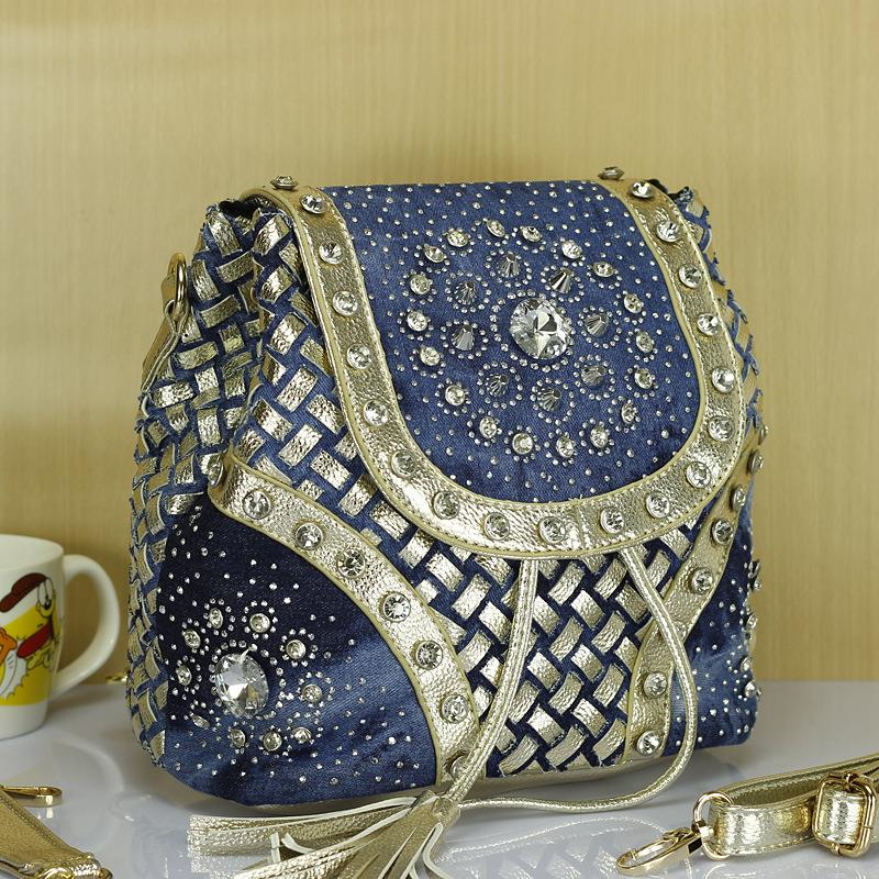 Autumn New Denim Woven Shoulder Bag Diamond Diamond Fireworks Women Handbag Shoulder Bags Women Messenger Bags Bag   A2187 women floral leather shoulder bag new 2017 girls clutch shoulder bags women satchel handbag women bolsa messenger bag