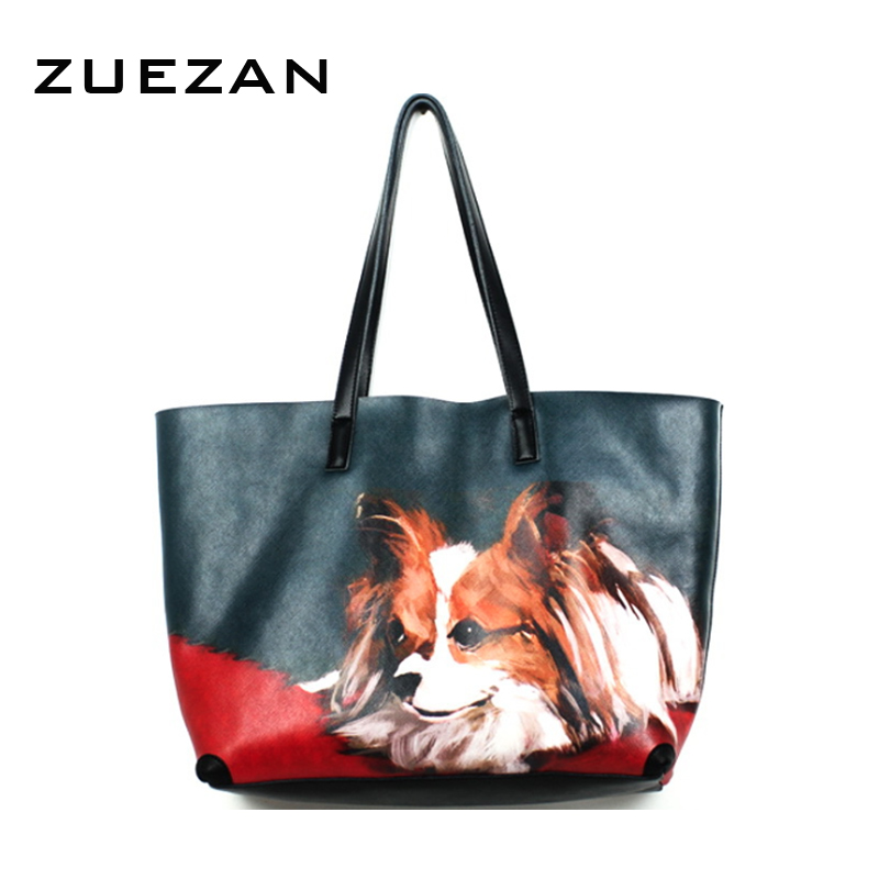Large Sets Bag Painting Puppy Dog Shopper Casual Lady Safiano Leather Shopping Bag Women Cow Leather