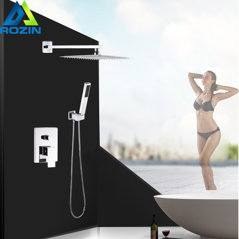 цена на Wall Mount 8 inch Rainfall Shower Set Faucet with Handheld Shower Chrome Single Handle Mixer Taps