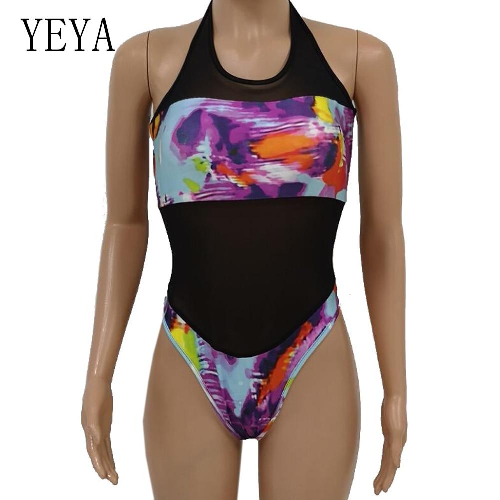 YEYA See Through Sexy Bodysuit Women Rompers Bodycon Beach Print Jumpsuit Women Summer Transparent Mesh Holiday Bodysuits