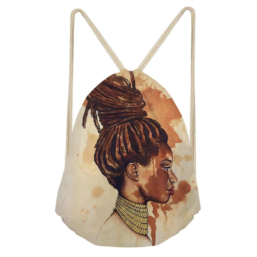 NOISYDESIGNS bolsas con cordón para mujeres negro arte africano niñas impresión playa bolso señoras Mini cadena mochila niños libro bolsas