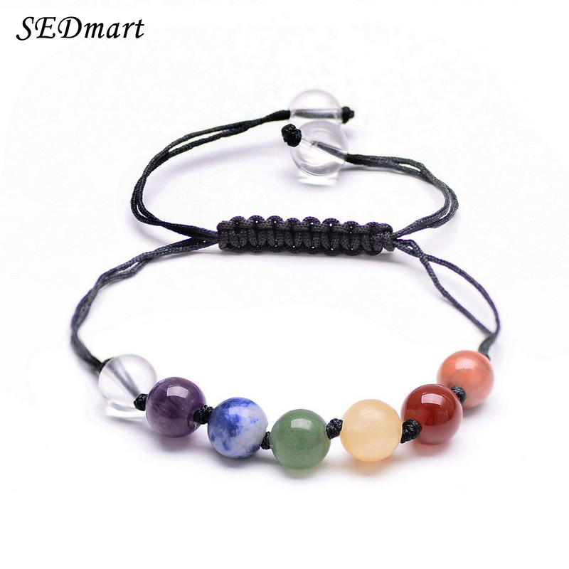 SEDmart DIY 7 Colorful Natural Stone Beads Crystal Chakra Bracelet For Women Braided Rope Bracelets Reiki Spiritual Yoga Jewelry