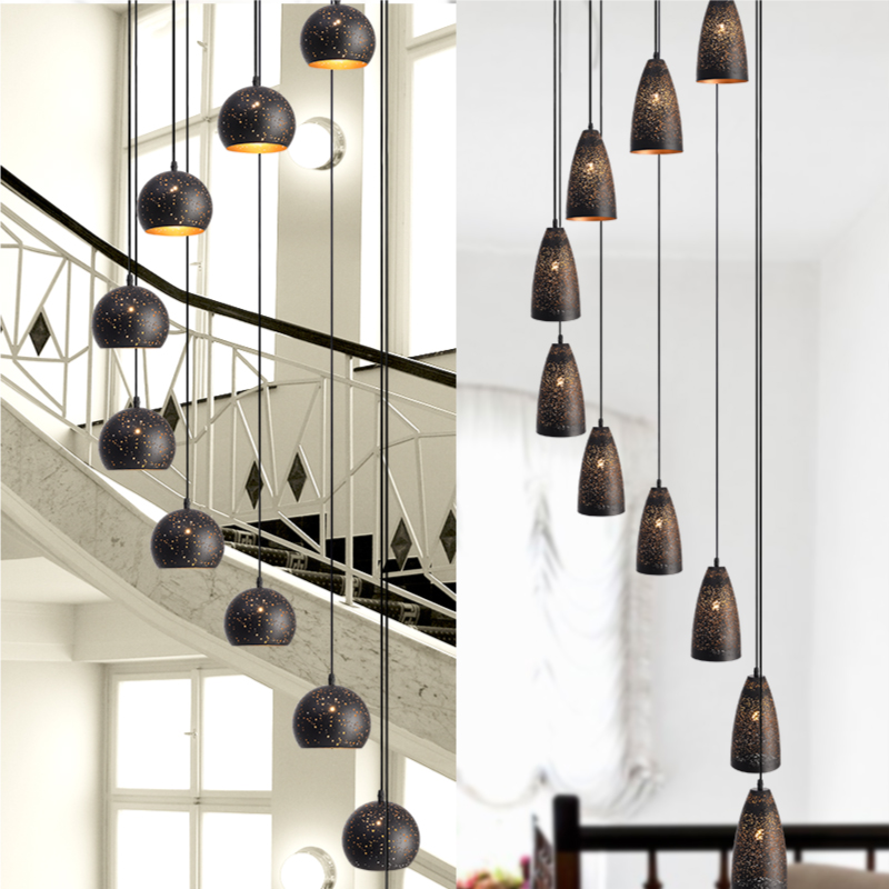 Modern simple long pendant lamp LOFT retro industrial wind creative iron bar double staircase Chandelier ZL518Modern simple long pendant lamp LOFT retro industrial wind creative iron bar double staircase Chandelier ZL518