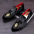 men fashion breathable party nightclub punk dress velvet genuine leather shoes print slip-on lazy driving oxford shoe loafers