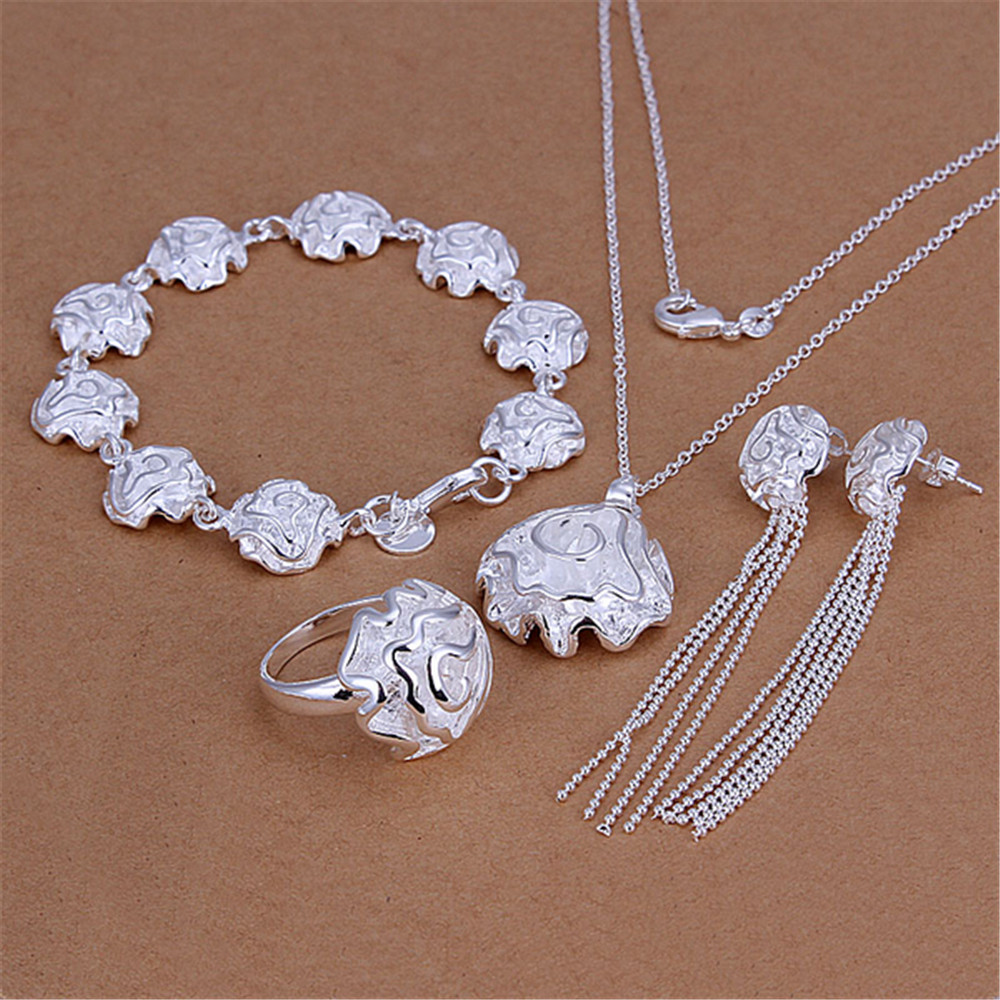 AMOURJOUX Official Store AMOURJOUX Bridal Jewelry Sets Rose Drop Earrings Necklace Rings Bracelet Women Silver Wedding Jewelry Sets Accessories