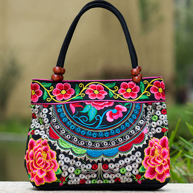 National Flower Peony Embroidered Shoulder Bag Small Top Handle Ethnic Chinese Bag Chinese Leisure Crossbody Beach Travel Bag