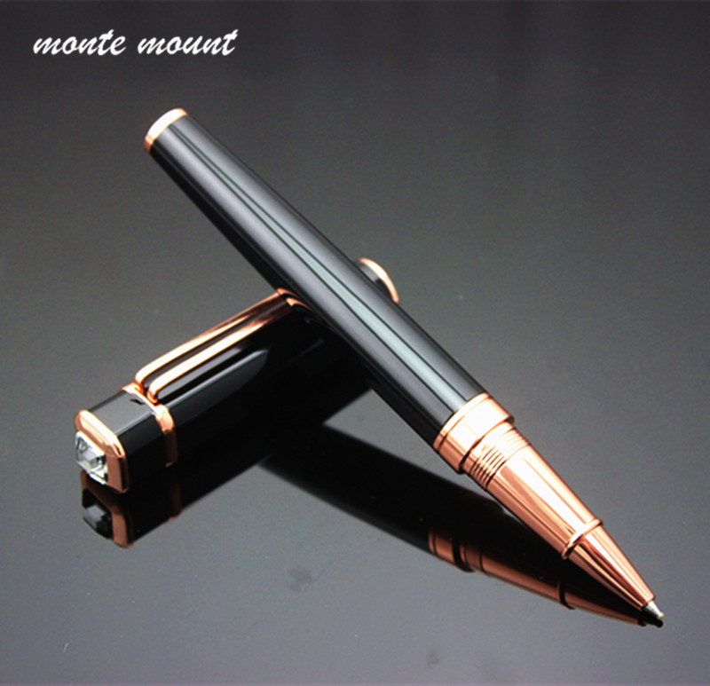 Exquisite Luxury diamond Metal Ballpoint Pens For Business Writing Gift Roller Ball Pen 0.5mm School Office Stationery Supplies dikawen 891 gray gold dragon clip 0 7mm nib office stationery metal roller ball pen pencil box cufflinks for mens luxury