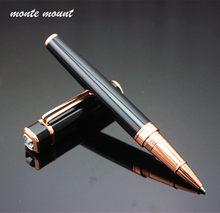 NEW Luxury Black Diamond MB Silver Short Wrist Clip Metal Roller Ball Pen School
