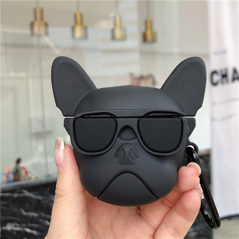 For AirPods 2 Case Cute Cartoon Cool Glass Bulldog Earphone Case For Apple Airpods Soft Silicone Protect Cover Funda-in Earphone Accessories from Consumer Electronics