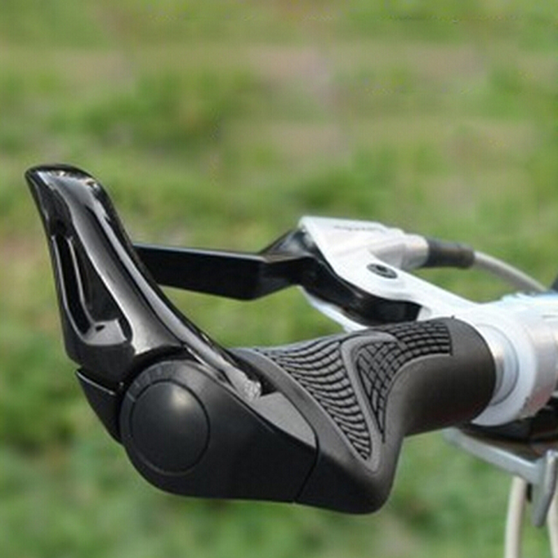 c017c25a9d2 1 Pair mtb mountain bike Bicycle Grip Horns Shape Aluminum TPR Rubber Cover  Vice Ergonomic Bike