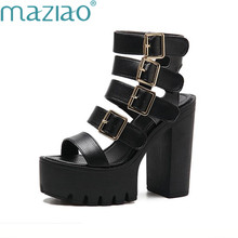 62c01042d235dc Summer Open Toe Women s Sexy Sandles Women Gladiator Shoes Leather  Slingback High Heels Fashion Buckles Sandals