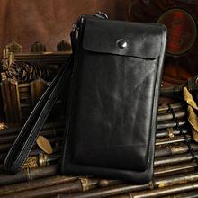 Natural Genuine Leather Universal Retro Wallet Pouch Case For iPhone 6 6S 7 Plus Samsung S7 S7 Edge J3 J5 2016 Phone Bags Cases