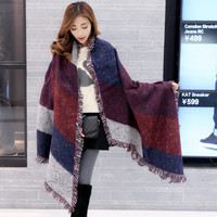 2016 Winter Brand New Women Scarf Plaid Blanket Scarf Elegant Warm Thin Bufandas Cape Poncho Fashion