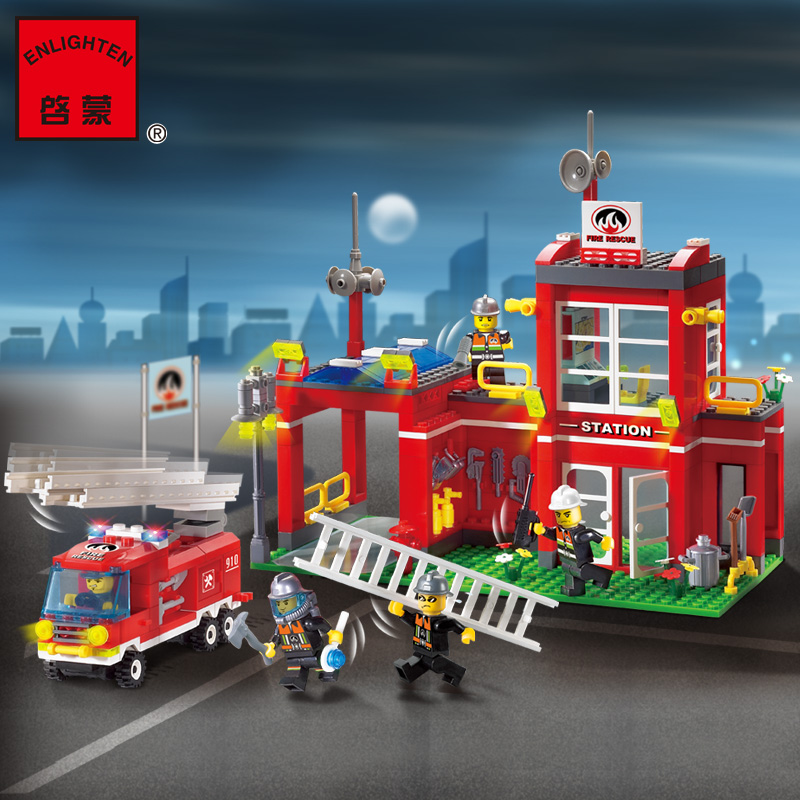 ФОТО 380Pcs Enlighten Fire Series Fire Bureau 3D DIY Building Blocks Set Bricks Construction Toys For Children Best Gift 910