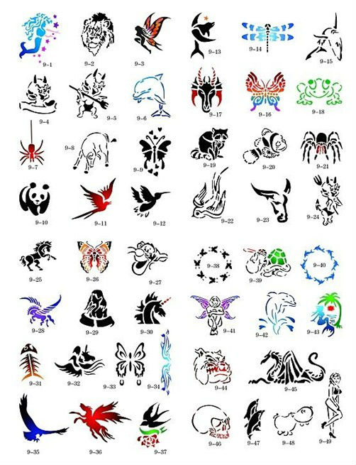 animal series temporary airbrush tattoo stencil template book 100 designs free shipping template. Black Bedroom Furniture Sets. Home Design Ideas